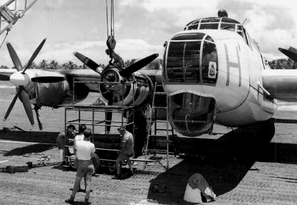 A Shackleton Mk1 undergoing an engine change (No 3 engine)