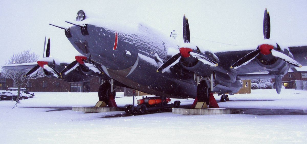 Avro Shackleton Mk2 WL795 gate guard in the Snow