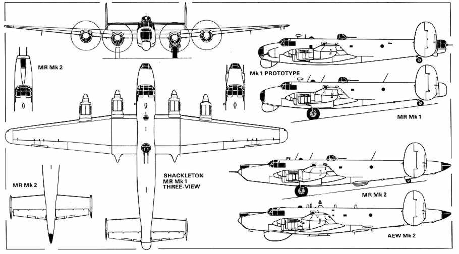 Plan views of the Shackleton Mk1 and Mk2